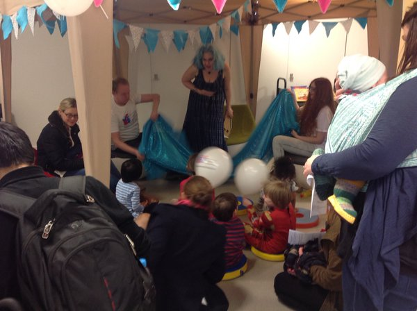 In action: Sadko is seasick! Storytelling in the cosy Manchester Children's Book Festival Story Tent. Picture taken by Kaye Tew of MCBF. 17th April 2016.