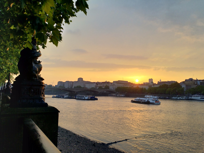 An image of Waterloo Bridge at sunset in May