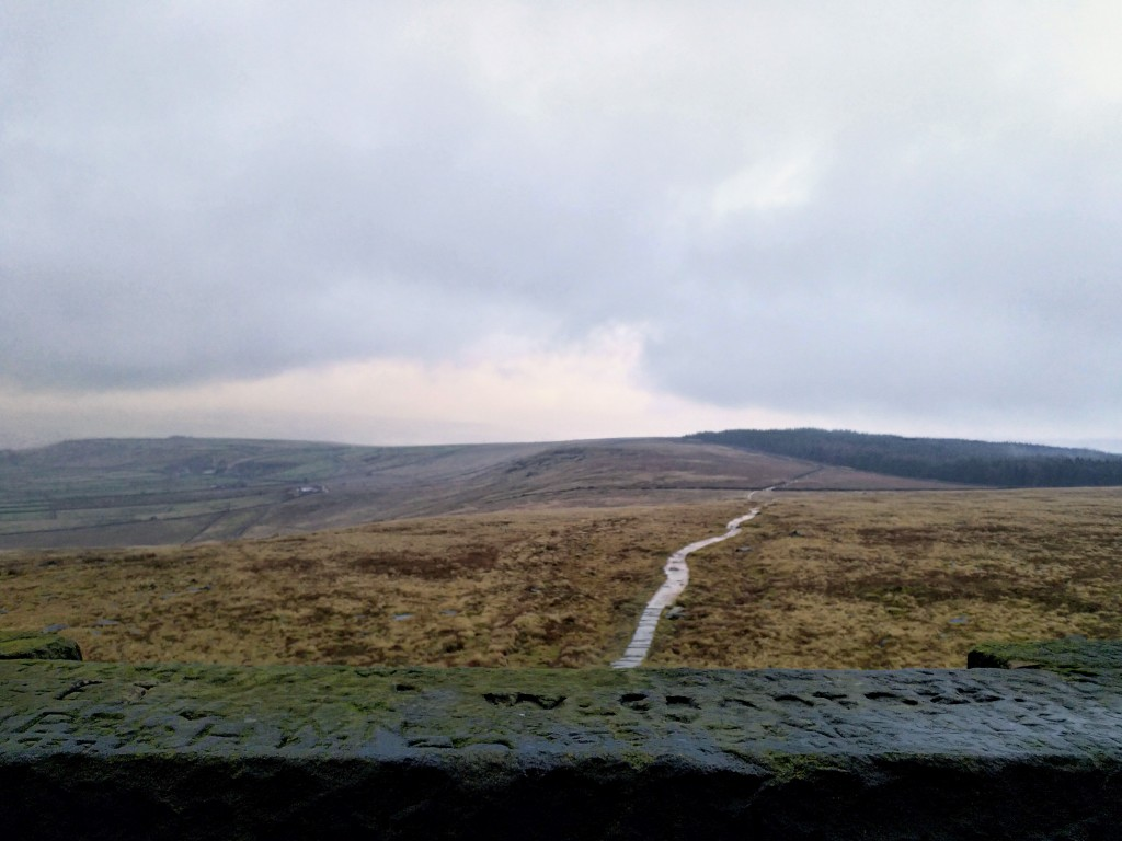 View from Stoodley Pike to the eastern track of the Pennine Way.